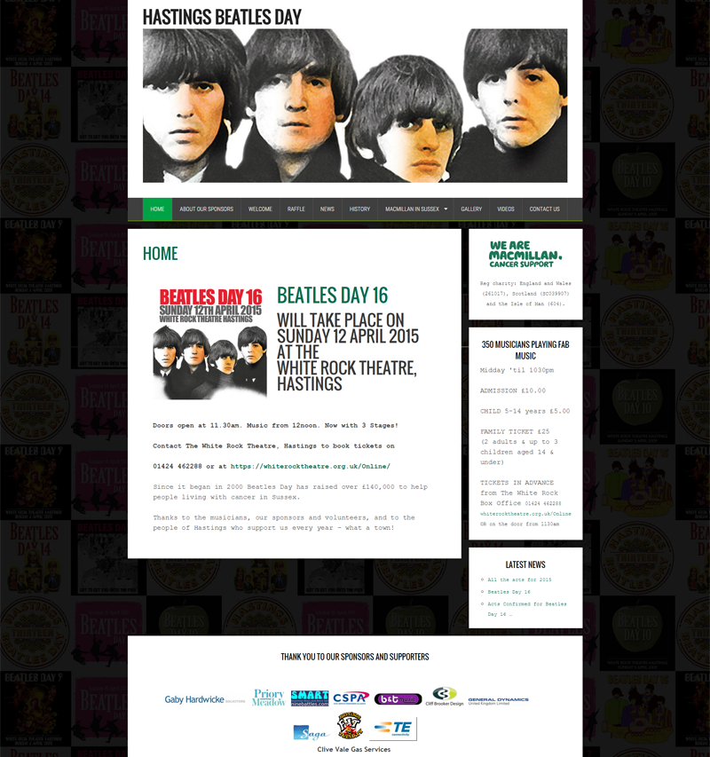 hastings beatles day for macmillan, simple wordpress site