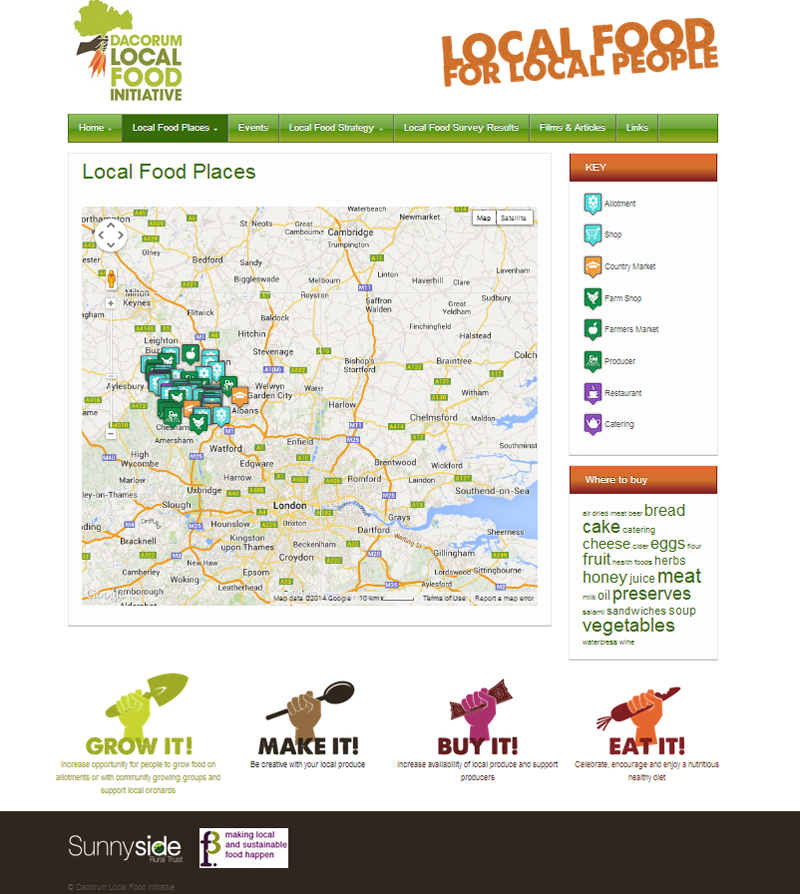 dacorum local food, wordpress site with google mapping tools