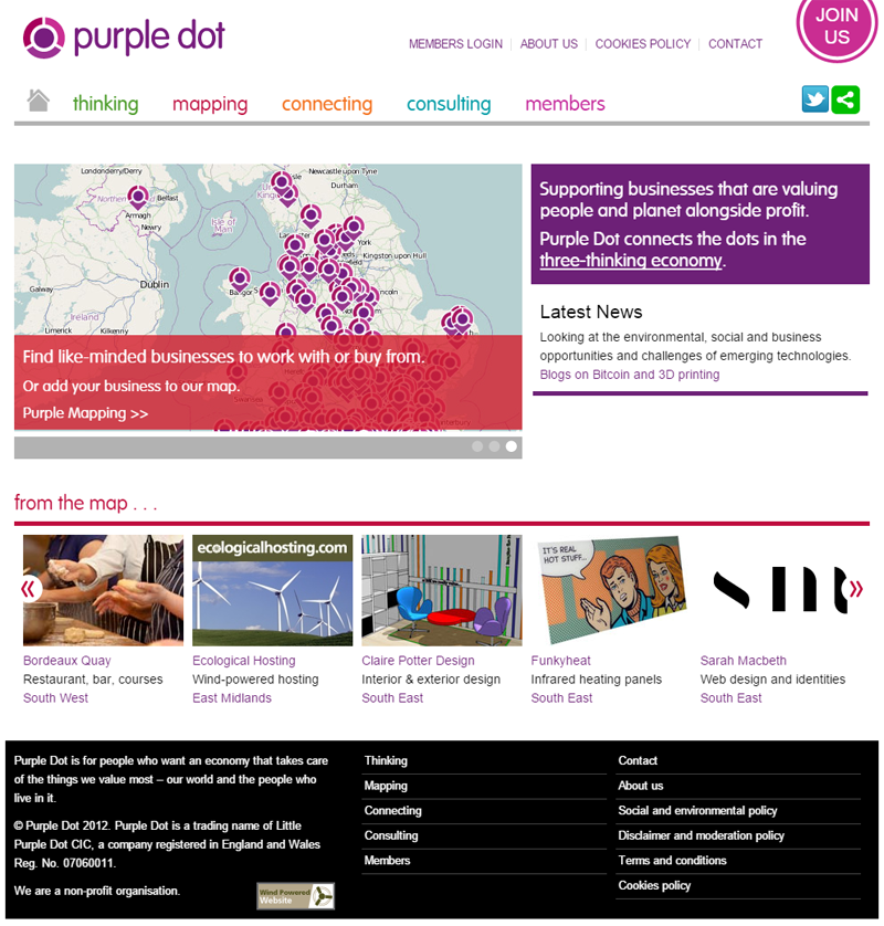 purpledot, drupal site, with openlayers mapping