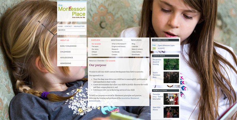 the montessori place, wordpress site with jquery menu