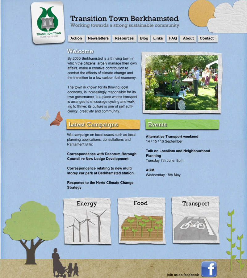 transition town berkhamsted, simple wordpress site